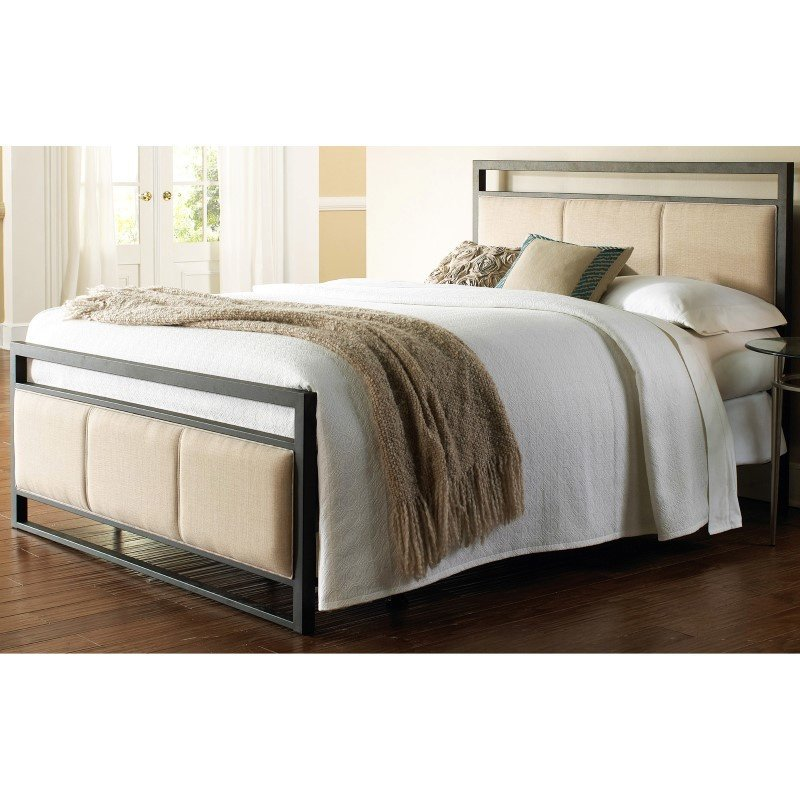 Fashion Bed Group Danville Complete Bed with Squared Metal Tubing and Buckwheat Upholstered Panels - Coffee Finish - King