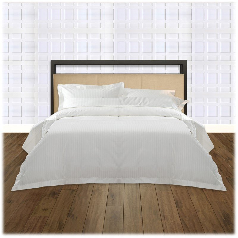 Fashion Bed Group Danville Metal Headboard with Squared Tubing and Buckwheat Upholstered Panels - Coffee Finish - Full