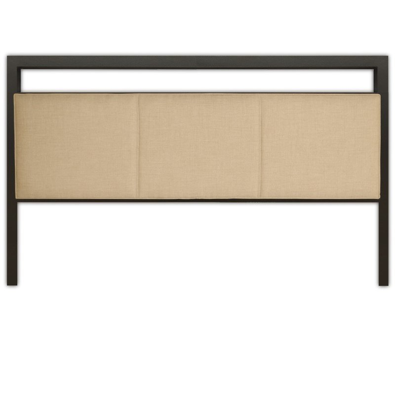 Fashion Bed Group Danville Metal Headboard with Squared Tubing and Buckwheat Upholstered Panels - Coffee Finish - Queen