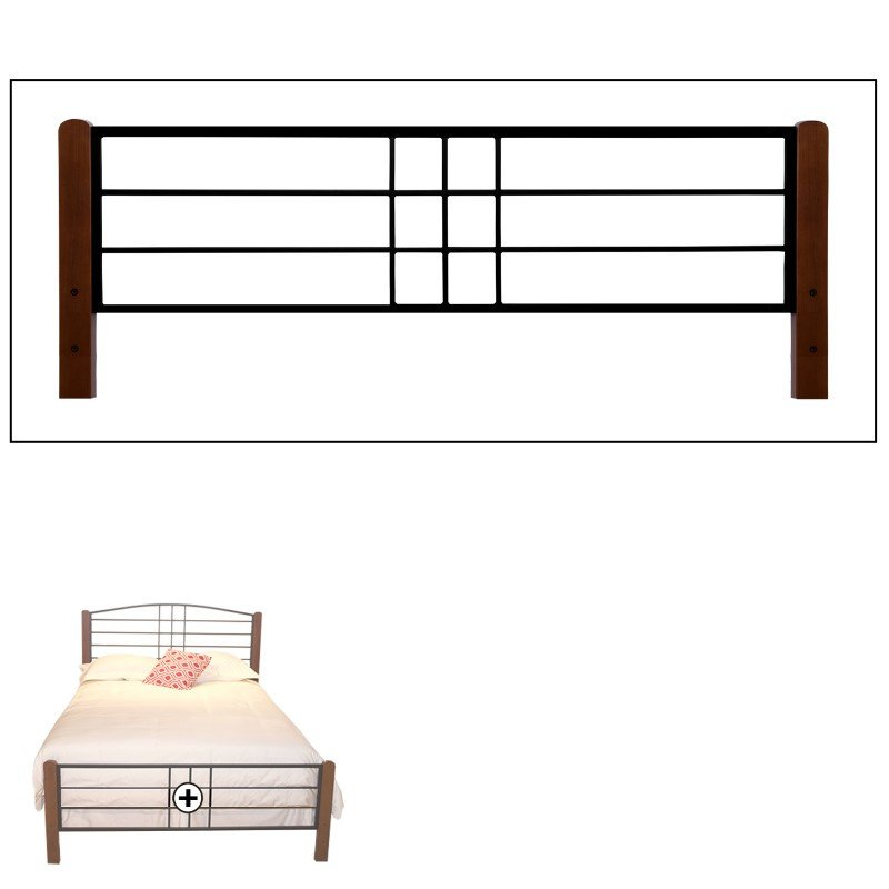 Fashion Bed Group Dayton Complete Bed with Metal Panels and Flat Wooden Posts - Black Grain Finish - California King