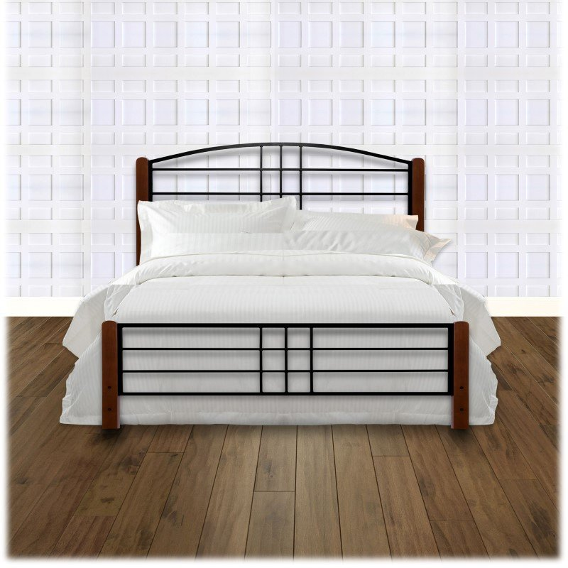 Fashion Bed Group Dayton Complete Bed with Metal Panels and Flat Wooden Posts - Black Grain Finish - King