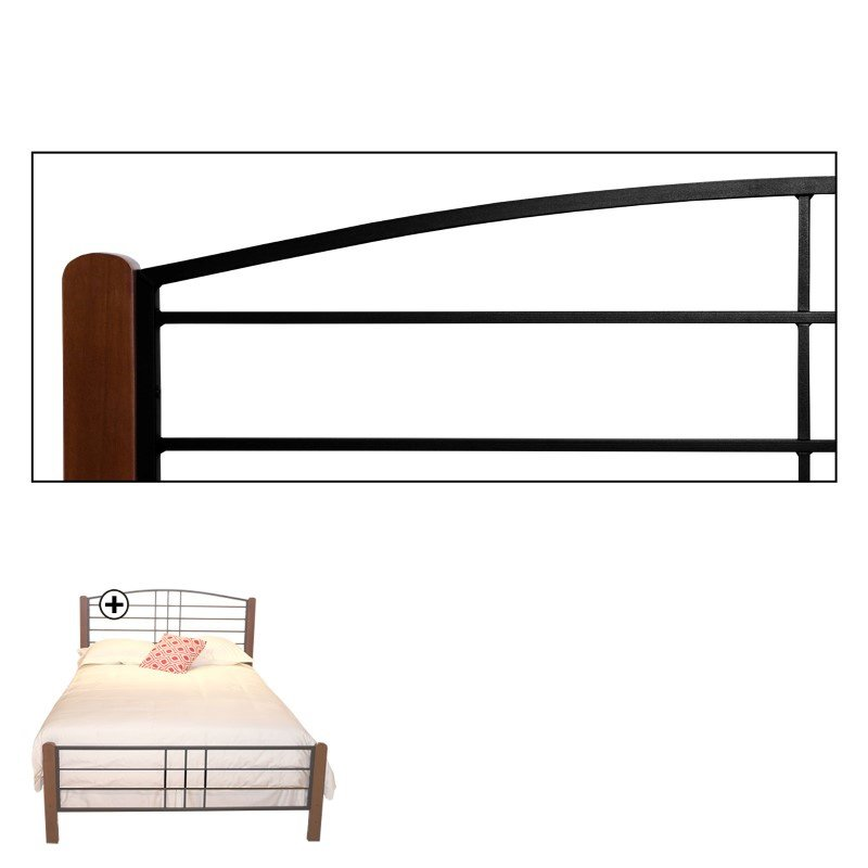 Fashion Bed Group Dayton Complete Bed with Metal Panels and Flat Wooden Posts - Black Grain Finish - Queen