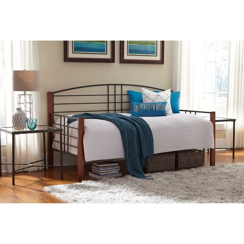Fashion Bed Group Dayton Metal Daybed Frame with Arched Back Panel and Flat Wooden Posts - Black Grain Finish - Twin
