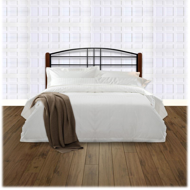 Fashion Bed Group Dayton Metal Headboard Panel with Slight Arched Design and Flat Wooden Posts - Black Grain Finish - California King