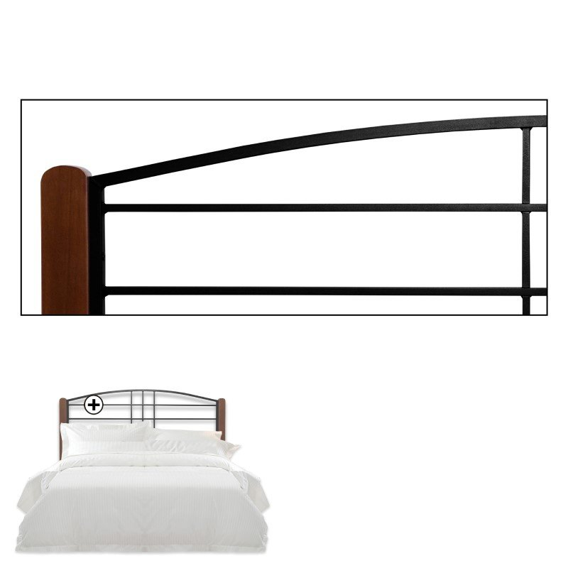 Fashion Bed Group Dayton Metal Headboard Panel with Slight Arched Design and Flat Wooden Posts - Black Grain Finish - Full