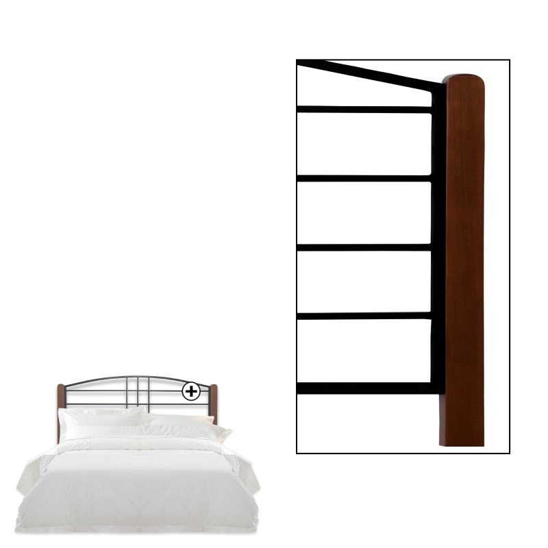 Fashion Bed Group Dayton Metal Headboard Panel with Slight Arched Design and Flat Wooden Posts - Black Grain Finish - Queen