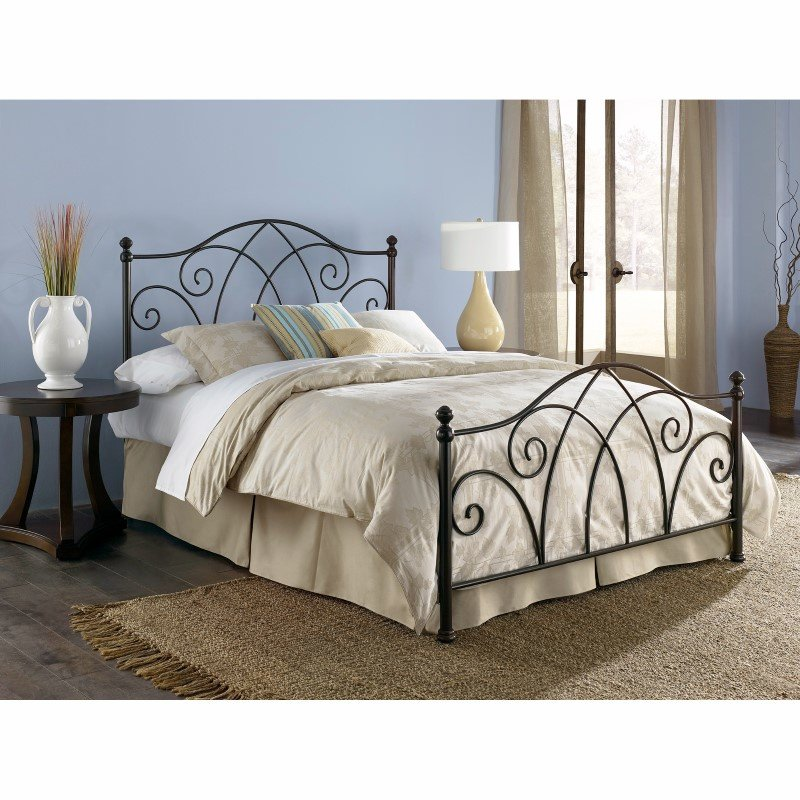 Fashion Bed Group Deland Complete Bed with Curved Grill Design and Finial Posts - Brown Sparkle Finish - Queen