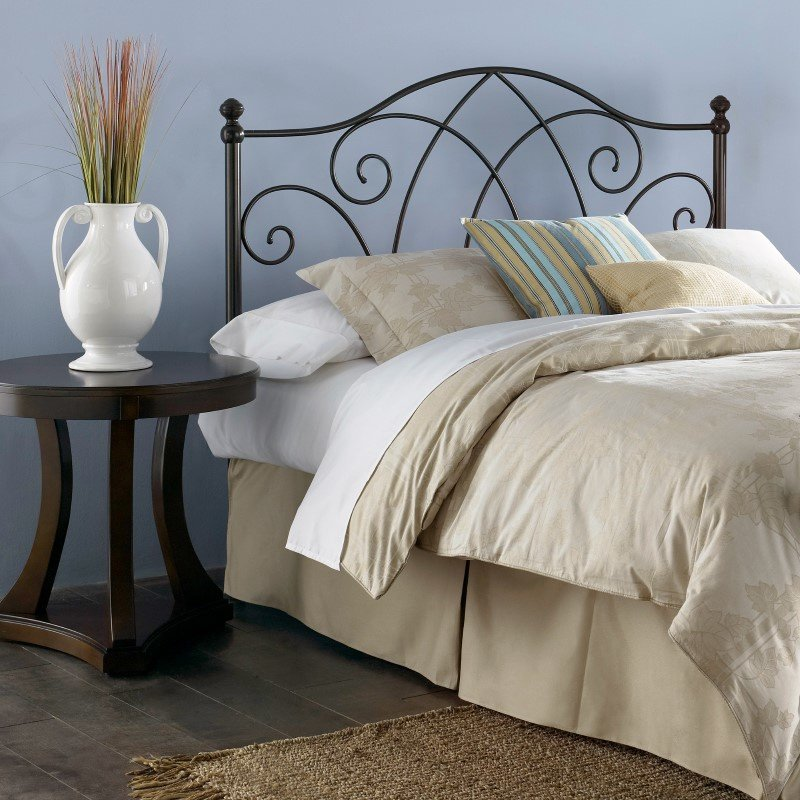Fashion Bed Group Deland Metal Headboard with Curved Grill Design and Finial Posts - Brown Sparkle Finish - Full