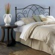 Fashion Bed Group Deland Metal Headboard with Curved Grill Design and Finial Posts - Brown Sparkle Finish - Queen