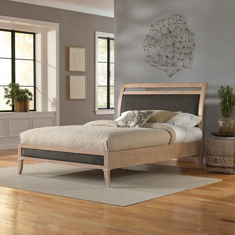 Fashion Bed Group Delano Platform Bed with Wood Frame and Sleigh-Style Upholstered Headboard - Washed White Finish - California King