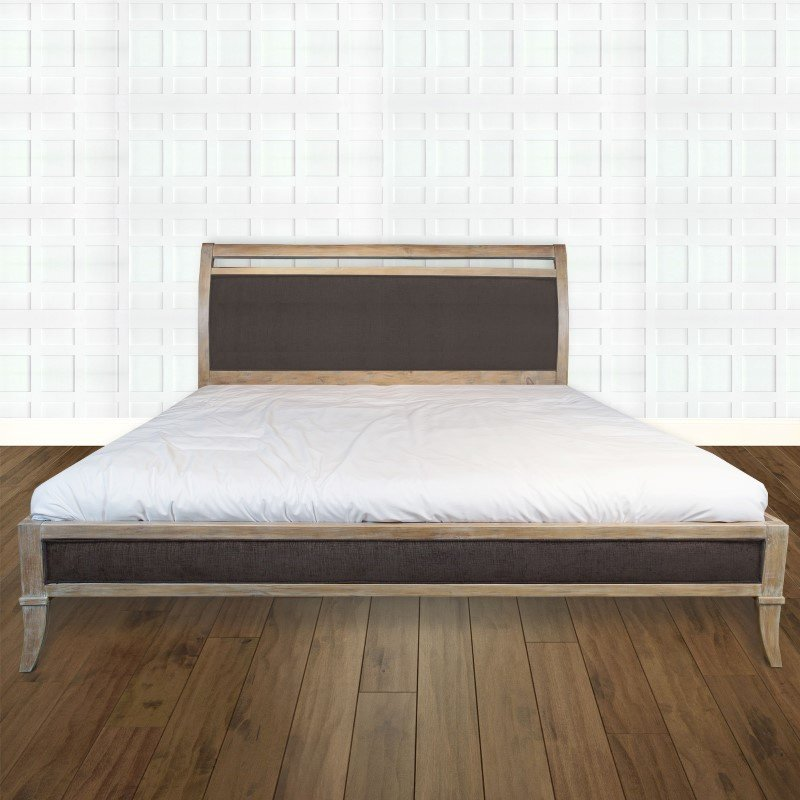 Fashion Bed Group Delano Platform Bed with Wood Frame and Sleigh-Style Upholstered Headboard - Washed White Finish - Queen