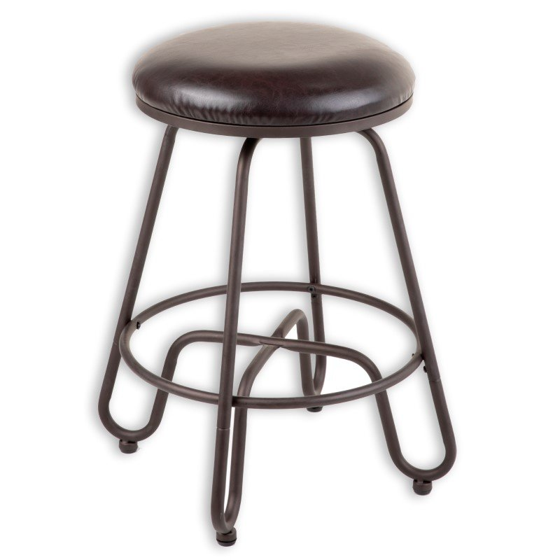 Fashion Bed Group Denver Metal Counter Stool with Backless Brown Upholstered Swivel-Seat and Umber Metal Frame Finish - 26-Inch