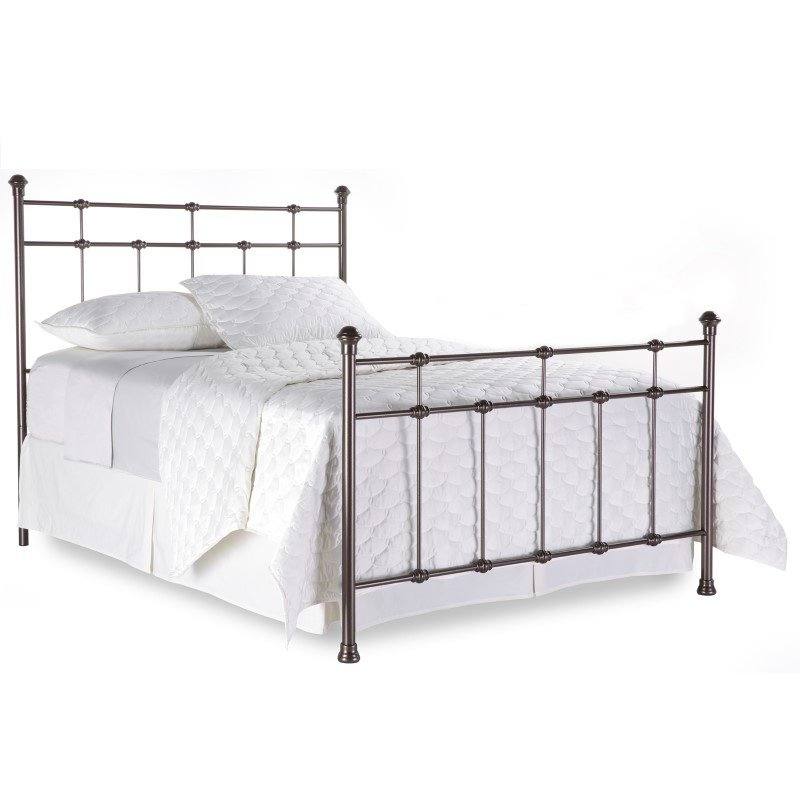Fashion Bed Group Dexter Complete Bed with Decorative Metal Castings and Globe Finials - Hammered Brown - California King