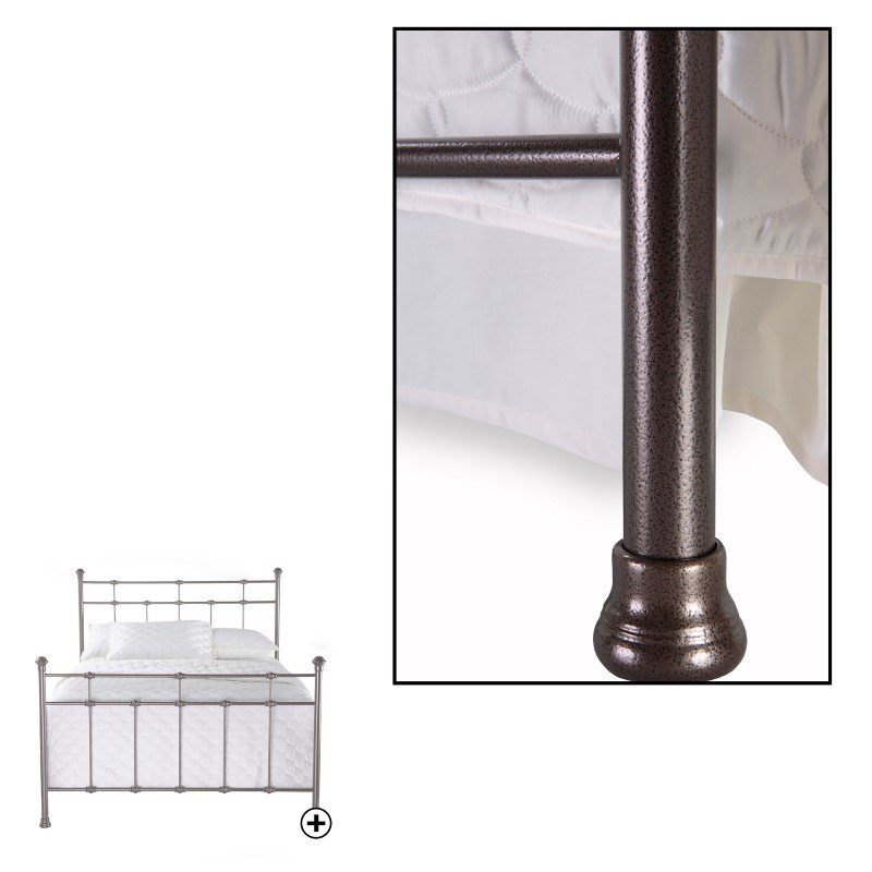 Fashion Bed Group Dexter Complete Bed with Decorative Metal Castings and Globe Finials - Hammered Brown - King
