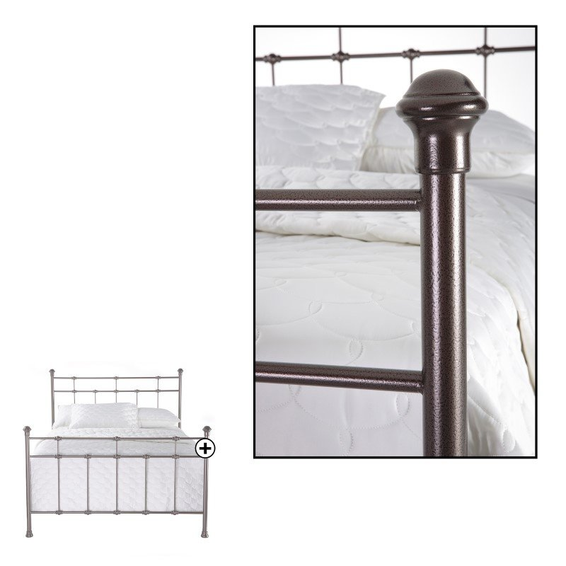 Fashion Bed Group Dexter Complete Bed with Decorative Metal Castings and Globe Finials - Hammered Brown - Queen