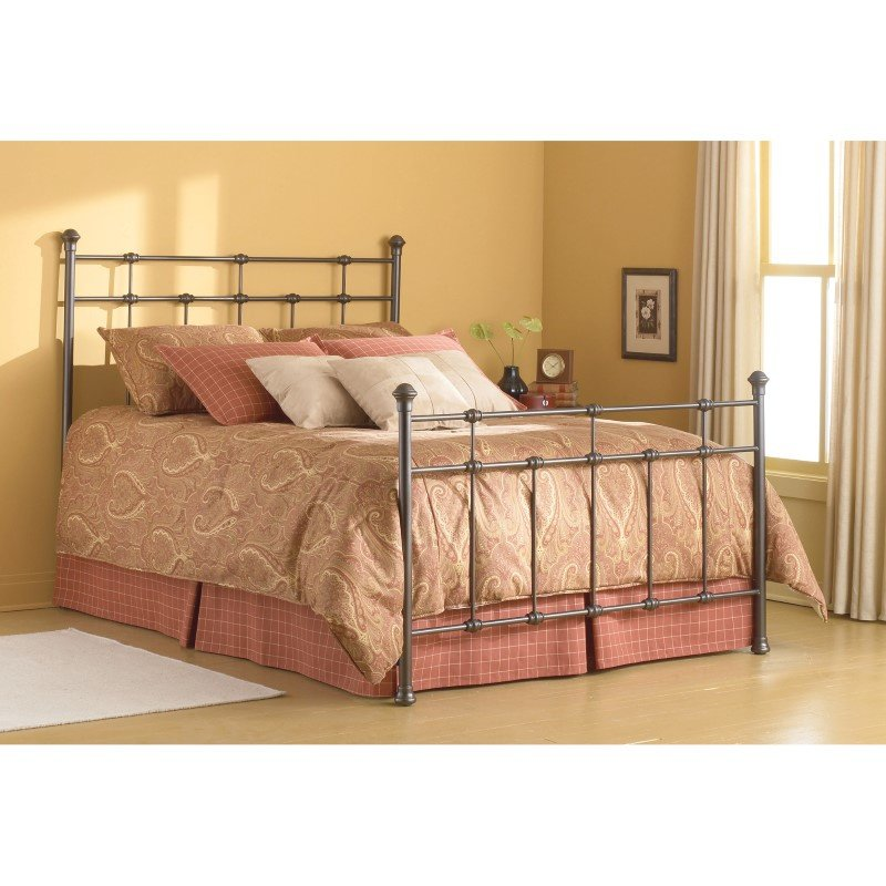 Fashion Bed Group Dexter Complete Bed with Decorative Metal Castings and Globe Finials - Hammered Brown - Twin
