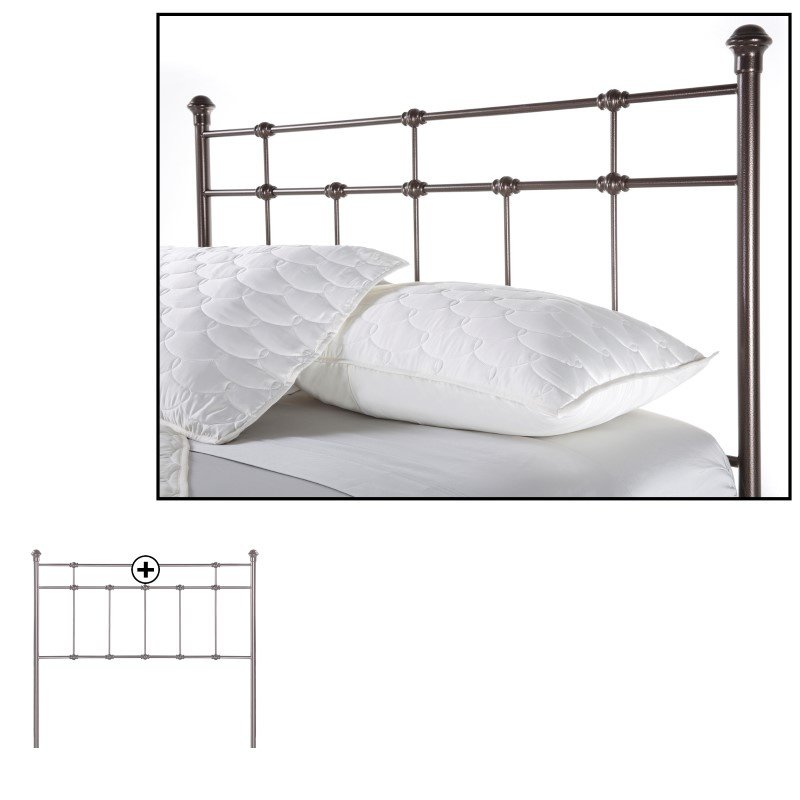 Fashion Bed Group Dexter Metal Headboard with Decorative Castings and Globe Finials - Hammered Brown - California King