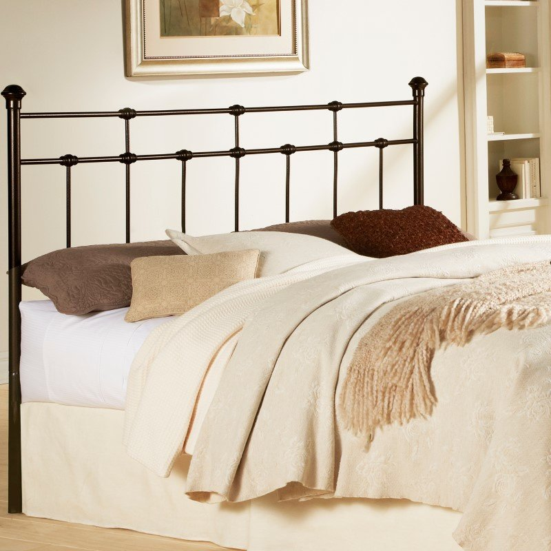 Fashion Bed Group Dexter Metal Headboard with Decorative Castings and Globe Finials - Hammered Brown - King