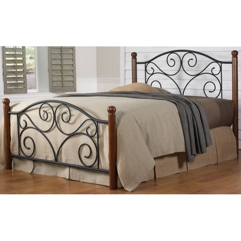 Fashion Bed Group Doral Complete Bed with Metal Duo Panels and Dark Walnut Wood Posts - Matte Black Finish - Full