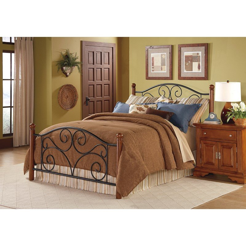Fashion Bed Group Doral Complete Bed with Metal Duo Panels and Dark Walnut Wood Posts - Matte Black Finish - King