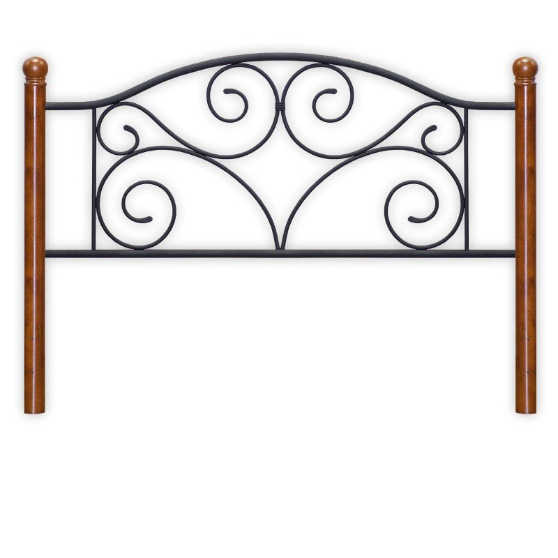 Fashion Bed Group Doral Complete Bed with Metal Duo Panels and Dark Walnut Wood Posts - Matte Black Finish - Queen
