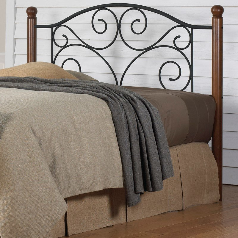 Fashion Bed Group Doral Headboard with Dark Walnut Wood Posts and Metal Grill - Matte Black Finish - California King