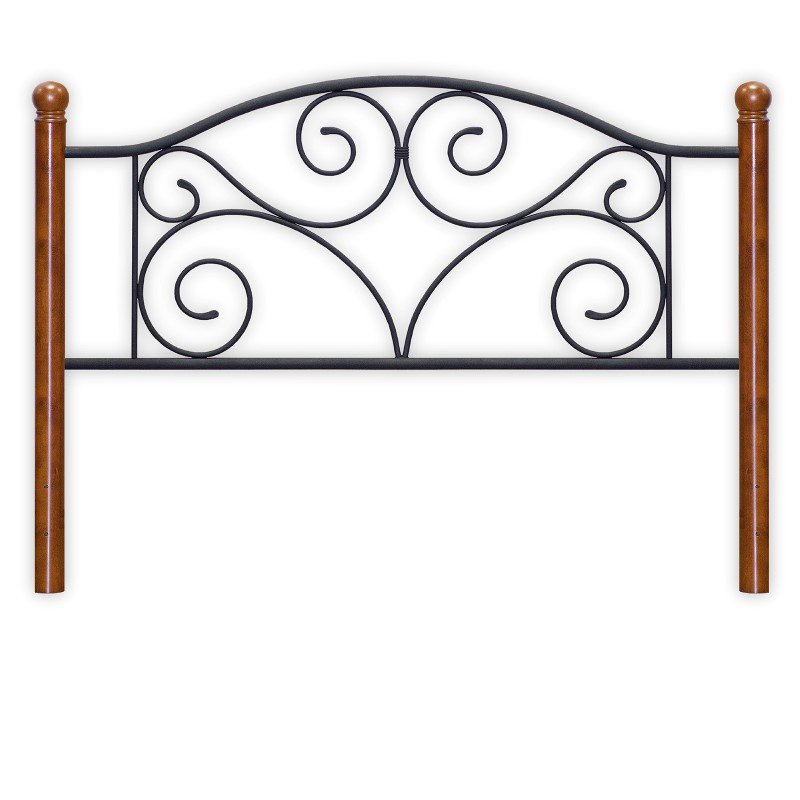 Fashion Bed Group Doral Headboard with Dark Walnut Wood Posts and Metal Grill - Matte Black Finish - Full