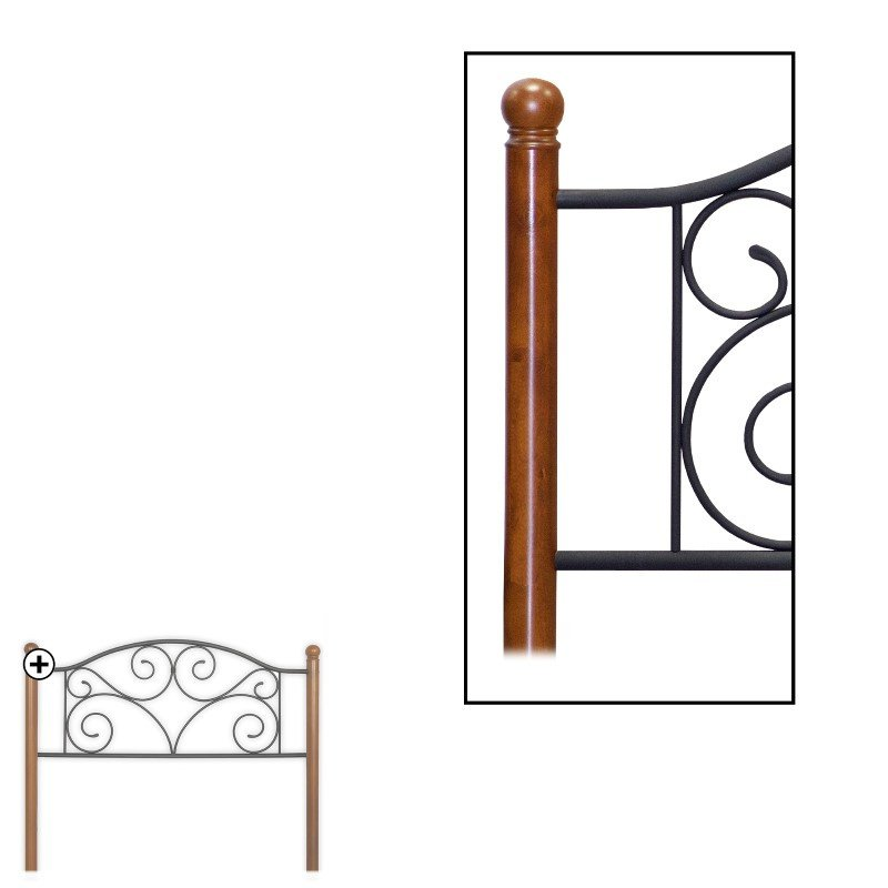 Fashion Bed Group Doral Headboard with Dark Walnut Wood Posts and Metal Grill - Matte Black Finish - King