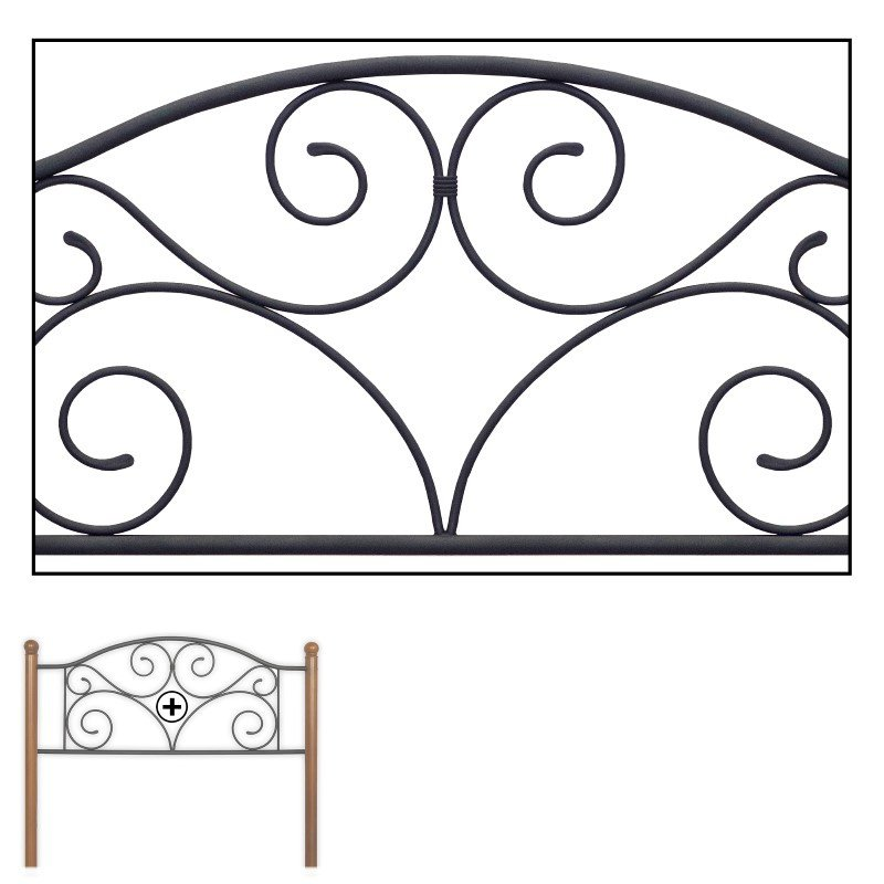 Fashion Bed Group Doral Headboard with Dark Walnut Wood Posts and Metal Grill - Matte Black Finish - Queen