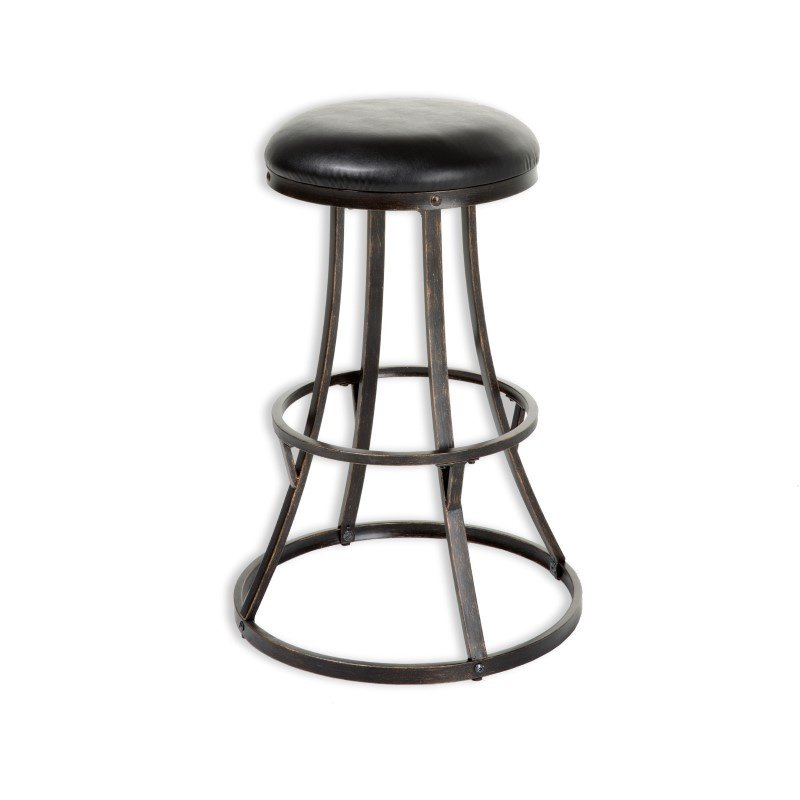 Fashion Bed Group Dover Metal Barstool with Black Upholstered Swivel-Seat and Blackened Bronze Frame Finish - 30-Inch