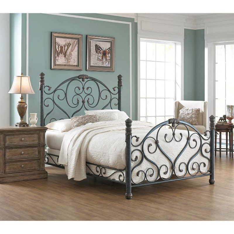 Fashion Bed Group Duchess Complete Bed with Side Rails and Carved Castings - Cerulean Marble Finish - King