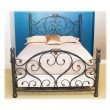 Fashion Bed Group Duchess Complete Bed with Side Rails and Carved Castings - Cerulean Marble Finish - Queen