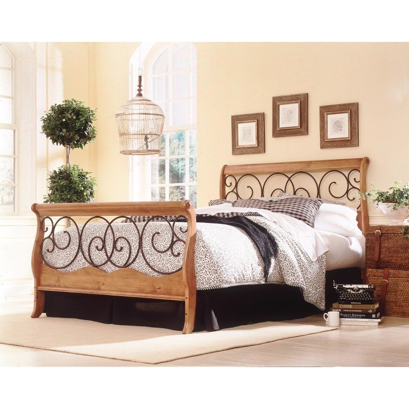 Fashion Bed Group Dunhill Complete Bed with Wood Sleigh Style Frame and Autumn Brown Metal Swirling Scrolls - Honey Oak Finish - Queen