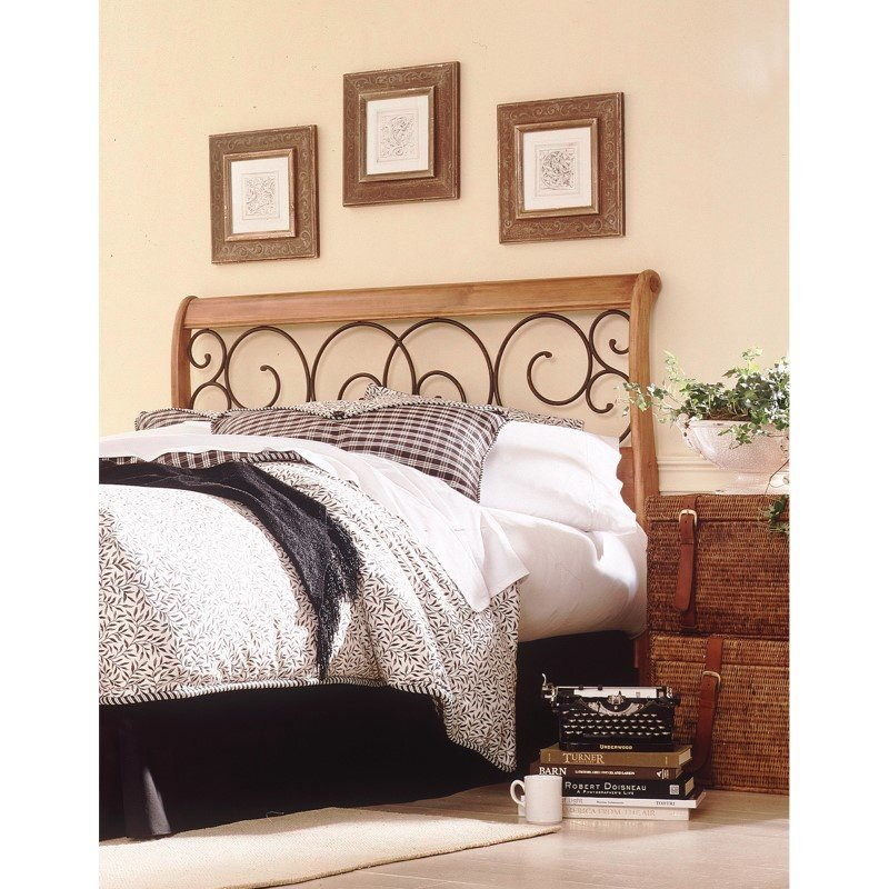 Fashion Bed Group Dunhill Wood Headboard with Sleigh Style Design and Autumn Brown Metal Swirling Scrolls - Honey Oak Finish - Queen