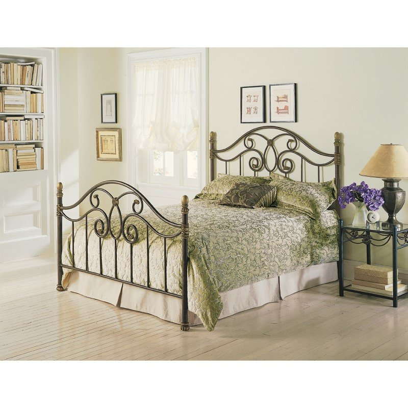 Fashion Bed Group Dynasty Complete Bed with Arched Metal Panels and Scalloped Finial Posts - Autumn Brown Finish - California King