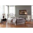Fashion Bed Group Dynasty Complete Bed with Arched Metal Panels and Scalloped Finial Posts - Autumn Brown Finish - King