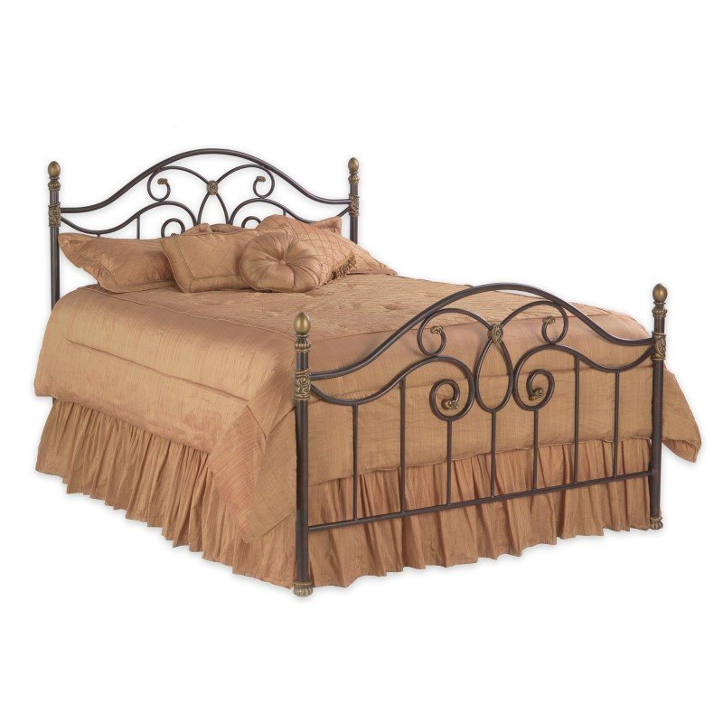 Fashion Bed Group Dynasty Complete Bed with Arched Metal Panels and Scalloped Finial Posts - Autumn Brown Finish - Queen