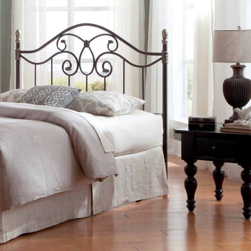Fashion Bed Group Dynasty Headboard with Arched Metal Grill and Scalloped Finial Posts - Autumn Brown Finish - California King
