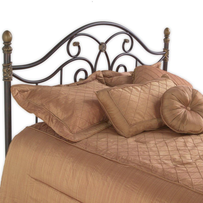 Fashion Bed Group Dynasty Headboard with Arched Metal Grill and Scalloped Finial Posts - Autumn Brown Finish - Full