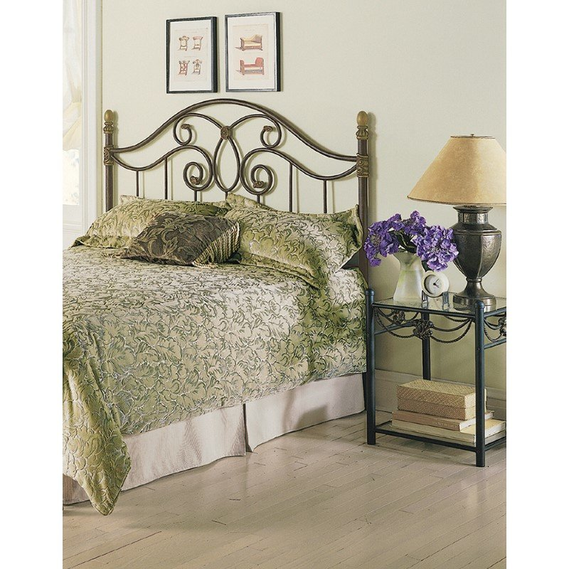 Fashion Bed Group Dynasty Headboard with Arched Metal Grill and Scalloped Finial Posts - Autumn Brown Finish - Queen