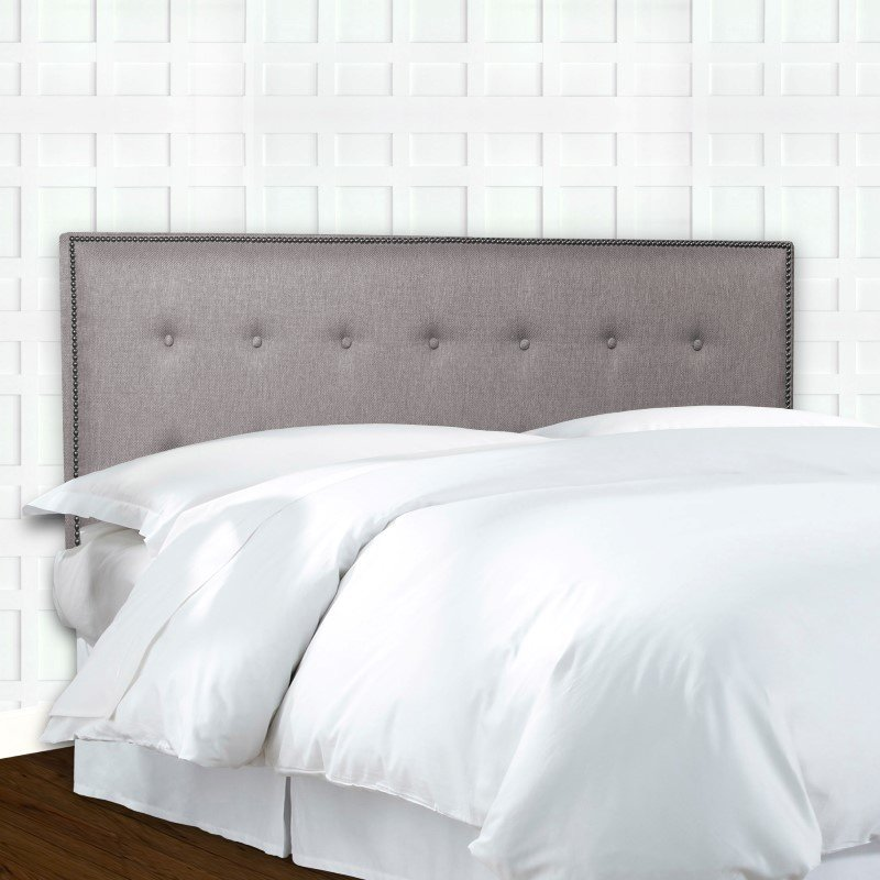 Fashion Bed Group Easley Upholstered Headboard Panel with Solid Wood Adjustable Frame and Button-Tufted Design - Base Dove Gray Finish - Full/Queen