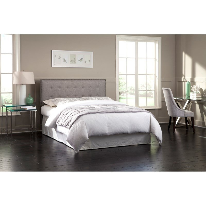 Fashion Bed Group Easley Upholstered Headboard Panel with Solid Wood Adjustable Frame and Button-Tufted Design - Base Dove Gray Finish - King/California King