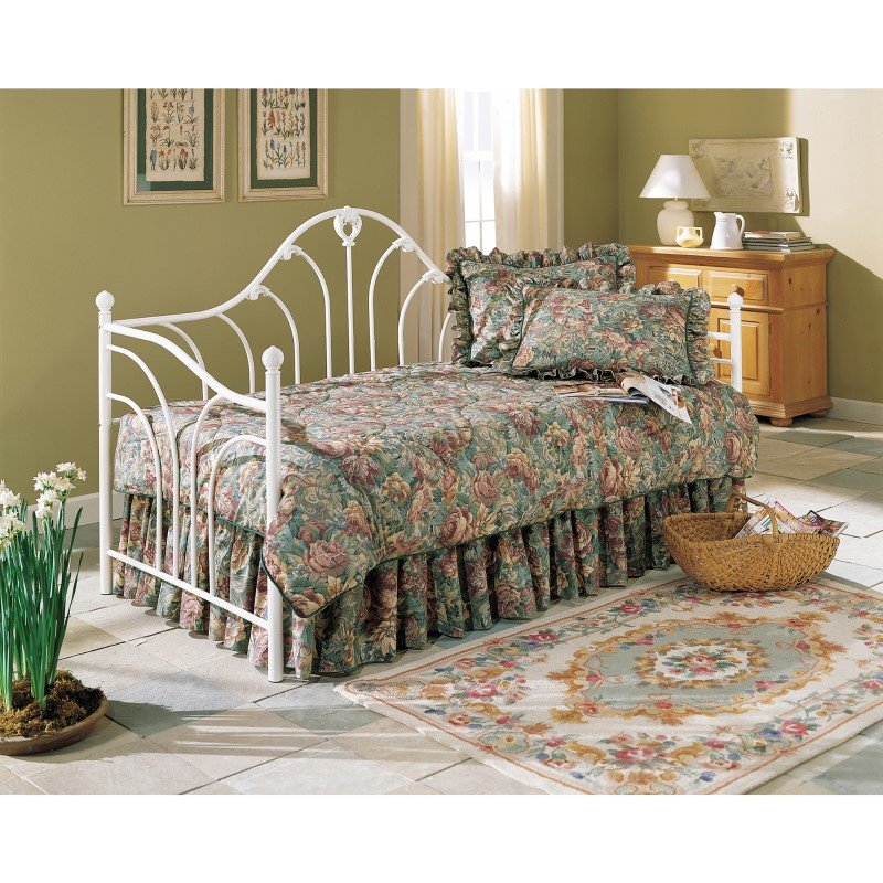 Fashion Bed Group Emma Metal Daybed Frame with Curved Spindles and Camelback Arch - Antique White Finish - Twin