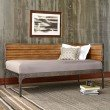 Fashion Bed Group Emmett Metal Corner Daybed with Reclaimed Wood Design and Height Adjustable Legs - Rustic Tobacco Finish - Twin