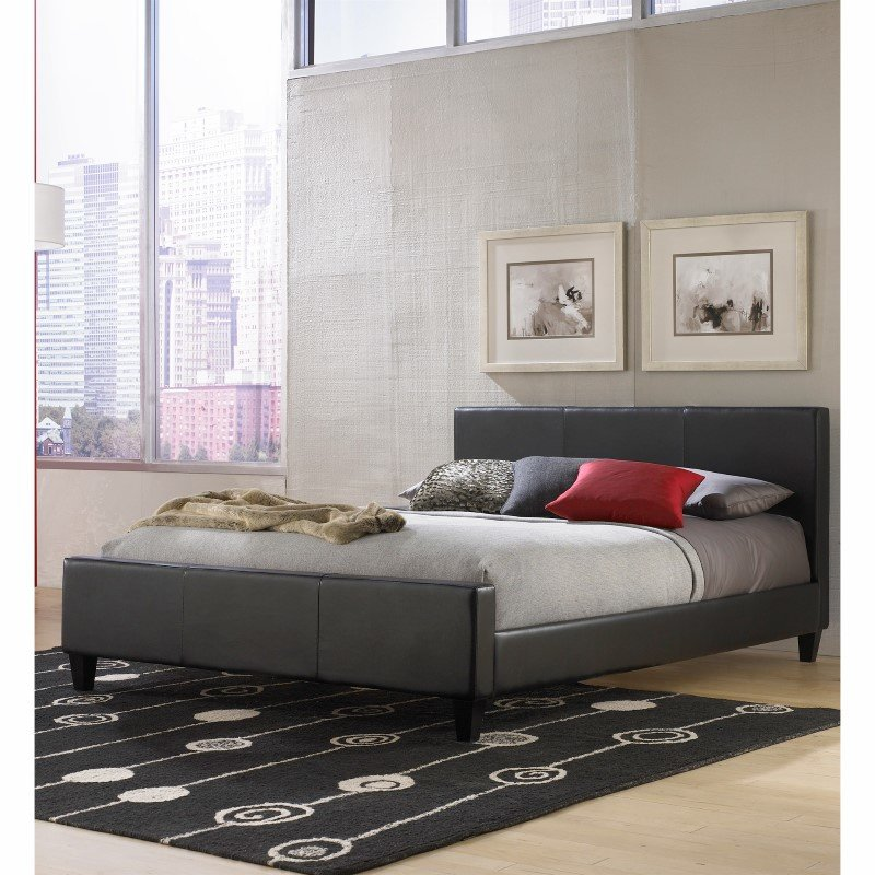 Fashion Bed Group Euro Platform Bed with Side Rails and Soft Upholstered Exterior - Black Finish - California King