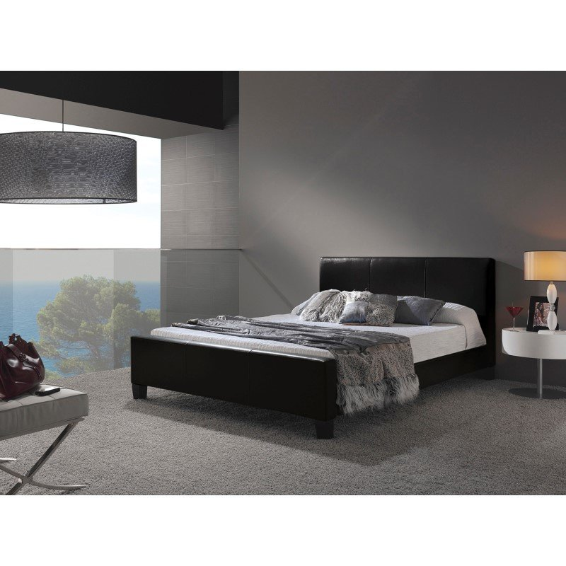 Fashion Bed Group Euro Platform Bed with Side Rails and Soft Upholstered Exterior - Black Finish - Full