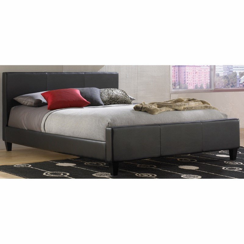 Fashion Bed Group Euro Platform Bed with Side Rails and Soft Upholstered Exterior - Black Finish - Queen