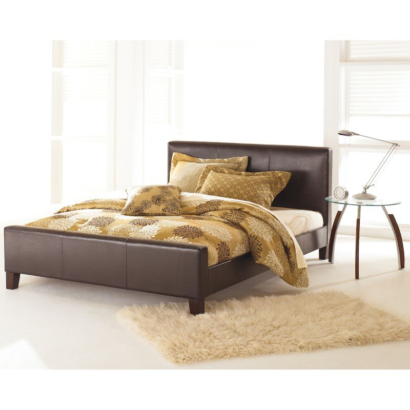 Fashion Bed Group Euro Platform Bed with Side Rails and Soft Upholstered Exterior - Sable Finish - Full