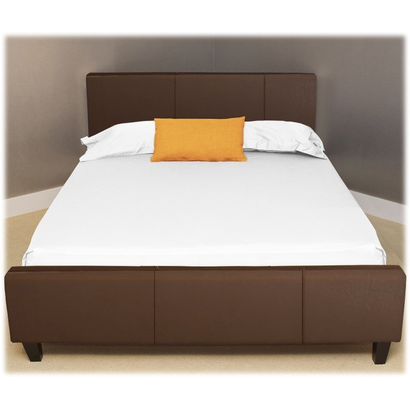 Fashion Bed Group Euro Platform Bed with Side Rails and Soft Upholstered Exterior - Sable Finish - Queen