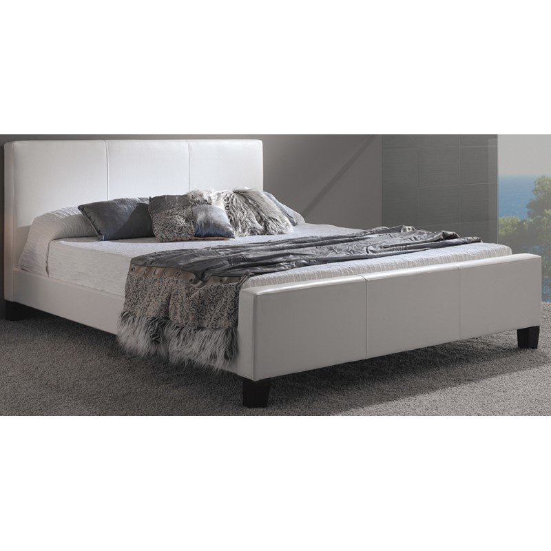 Fashion Bed Group Euro Platform Bed with Side Rails and Soft Upholstered Exterior - White Finish - California King